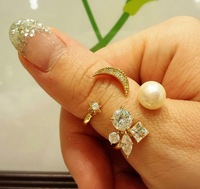 Order $16 automatically free shipping .moon with star shape  Ring , high quality , Fashion jewelry nickel free