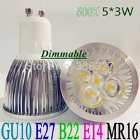 500pcs/lot  High Power GU10 / E27 /  MR16 / E14 / B22 4X3W 12W 5X3W 15W  dimmable LED bulb  Led Spotlight  Free shipping