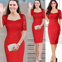 2014  Princess Kate Middleton Vestidos Vintage Lace Red Bodycon Party Dresses