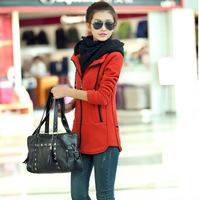 New 2014 Autumn Winter Fashion Zipper Hoodie Sweatshirt Brand Women's Long Jacket With Hood Casual Coat Thick Warm Sweater