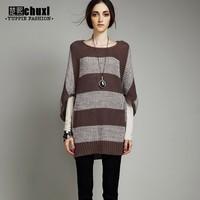 2014 European Fashion Ladies Winter O-neck Thick Stripes Loose Long Bat sleeve Large size Women's Knitting Sweaters