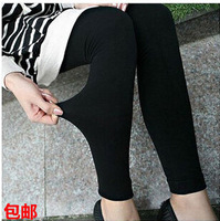 Extra large autumn and winter legging black plus size thickening legging brushed high elastic high waist ankle length trousers