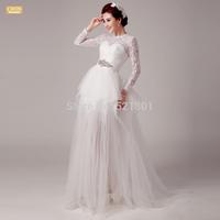 new 2015 a line wedding dresses fashion long-sleeved lace wedding dress vestido de noiva vestido de festa longo  439