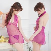 Women Babydoll Lingerie Sexy Sleepwear Dress with G String Underwear Set Slim V Neck Halter Lace Female Chemise