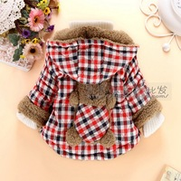 HOT- 2014 children's cotton-padded clothes sell like cakes Bear the lambs wool child  coat, children's wear cotton-padded jacket