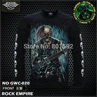 Free Shipping   Glow In the Dark Long tongue skeleton guitar Men's T-shirt  Full Sleeve