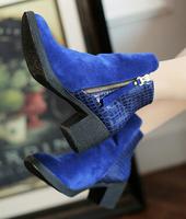 Women new fashion autumn winter short martin boots 6cm thick heels platform side zipper shoes large plus size 40-43