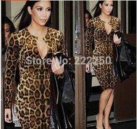 2014 Women Casual dress Leopard Print  Dress  S-XXL