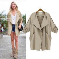 M118 XXXL XXXXL 5XL 2014 Autumn New Fashion European Style Loose Plus Size Batwing Zip Novelty Casual Trench Coat for Woman