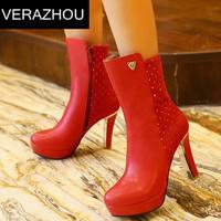 2014 Autumn Winter Martin boots New Plus size 40 41 42 43 Rhinestone Shoes woman Ankle boots heels Platform Pumps Platform