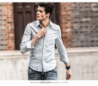 2014 new winter men's shirts Men's European style men's striped cotton long-sleeved shirt tide