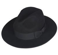 4 style Fashion Winter Vintage Lady Girls 100% Wool Black Fedora Hats black Floppy hats Free shipping