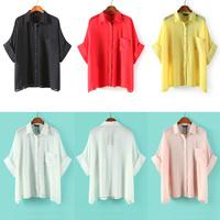 2014 New Hot selling Womens Asymmetric Batwing sleeve Casual Loose Oversize Long Chiffon Shirt Tops Blouse Plus size