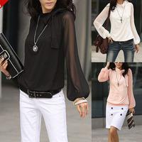 2014 New Spring Summer Autumn Elegant Womens Ladys Neckline Bow Lantern Sleeve OL Chiffon Blouse Shirt Tops