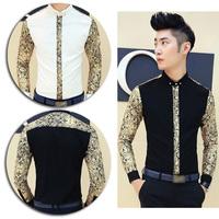 Hot Sale Men's Patchwork Casual Shirt Skinny Long Sleeve Dress Shirt Gold Flower