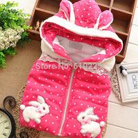 New 2014 Children Vest Dotty Rabbit Girls Vests Soft Warm Kids Waistcoat Baby Girls Winter Zipper Outerwear