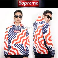 2014 brand supreme box PULLOVER men's Long sleeve Outerwear hoodie flag stripe star cotton Fleece Sweatshirt Jacket