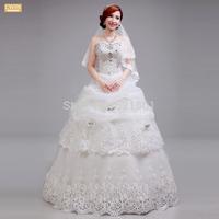 ball gown Wedding dresses 2015 new Korean version of the Qi Crystal Bra straps lace wedding dress vestidos de noiva 441