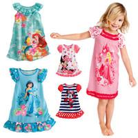 216 New Summer Princess Minnie Mouse Cotton Girl'S Sleepwear Pajamas Dress For Kid / Children Nightgown Bathrobe Clothes