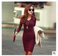 Winter new large size women bottoming Slim V-neck knit dress winter dress