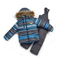 381 Sport ski boys snowsuit winter children's clothing set fur cotton ourterwear coat jacket parkas + overalls kid  sportswear