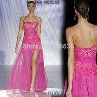 Custom Made A-Line Sweetheart Lace Chiffon Split Leg Open Runway Show 2015 Spring Hot Design Long Evening Dresses Free Shipping
