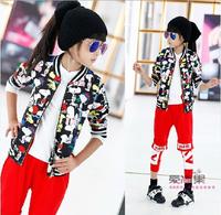 2014 autumn new female children's wear long-sleeved jacket European version of the cartoon baseball uniform cardigan