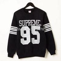 2014 brand PULLOVER men's Long sleeve Outerwear hoodie hiphop skate supreme 95 print Fluorescent cotton Fleece Sweatshirt