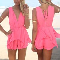 New 2014 Women Shorts Women Summer Celebrity Sleeveless Sexy V-neck Playsuit Beach Rompers Womens Jumpsuit Women Hot Pants