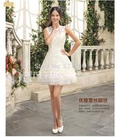 The bride wedding dress 2015 new Korean fashion lace wedding dresses vestido de festa longo vestido de noiva curto 444