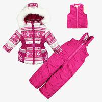 A363 winter kid girls clothing sets children Windproof cotton coat  jackets outerwear + wool vest + overalls sport ski suit