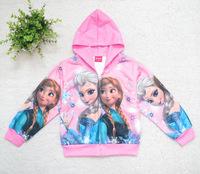 385 2014 Autumn Winter Frozen Elsa Anna Costume Girls Coat Cartoon Cotton Full Sleeve Kid Princess Jacket Hoodie Clothes
