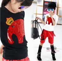 Kids 2014 autumn sequins auspicious like wild girls t shirt stretch pullover shirt