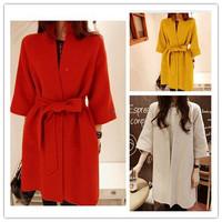 Casaco Feminino 2014 New Fashion Winter Blended Woolen Coat Women Three Quarter Sleeve Loose Thick Long Warm Coats Free Shipping