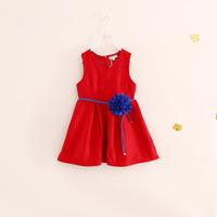 high quality children girl sleeveless autumn wool party dress with flower belt