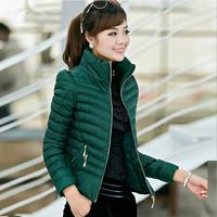 New 2014 Short  Outerwear Winter Zippers Down Coats Jacket Women Plus Size Parkas