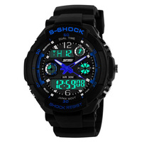 Outdoor watch sport watch digital army led wristwatches men  2 time zone quartz Chronograph jelly silicone swim 30M Waterproof