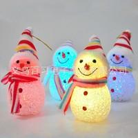 Free shipping flash luminous christmas snowman christmas snowman doll christmas decoration gift