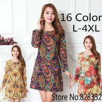 Dresses Women 2014 New Style Autumn & Winter Dress Long Sleeve Flower Print Dress Sexy Casual Plus Size Women Clothing Vestidos