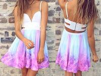 2014  Free shipping Fashion Printing V-neck dress. Party Dress