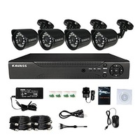 KAVASS 4CH CCTV DVR Kit P2P,H. 264+4 Outdoor 800TVL HD Waterproof Color Cameras