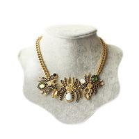 Free Shipping Short spider gem sweater chain statement necklace women necklace spider necklace