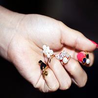 Free Shipping Japanese precious stones and pearls nail joint rings nail ring new fashion nail ring 4 pcs a set