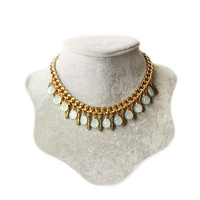 Free Shipping Small mixed female short gem sweater chain leaves statement necklace feather gem necklace