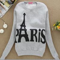 Hot selling! women Cartoon star Paris Eiffel Tower casual hoodies sweatshirt Couple Baseball free shipping