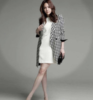New 2014 Houndstooth  Trench Coat Women Long Wool Winter coats Long sleeved
