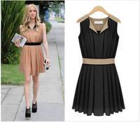 2014 new style V-neck vest suit pinched waist  Sleeveless chiffon dress forwomen