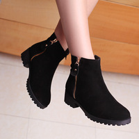 New 2014 The European Shoes Woman Ankle Boots Autumn Winter Boots Genuine Leather Snow Boots Fashion Double Zip Women Shoes