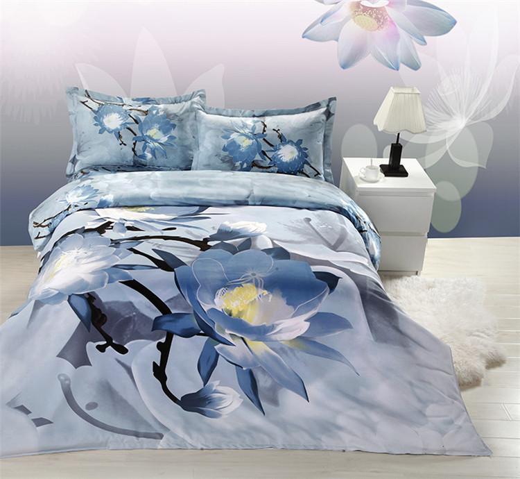 3D bedding sets TYC blue bedding flower double bed game romantic comforter cover bedsheet pillowcase set conjunto de cama 2702(China (Mainland))