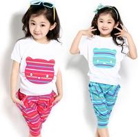 Children's suit 2014 new Short sleeve Vest+Pants two-piece Korean Girl Fashion Blue Red Sport Autumn Spring dayhz028